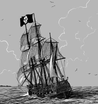 Un barco pirata en la playa de La Caleta (Hermigua)