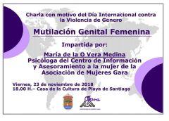 Charla sobre 'Mutilación Genital Femenina' en Playa de Santiago este viernes