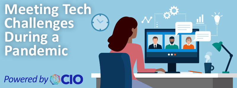 """The text """"Meeting Tech Challenges During a Pandemic, Powered by OCIO"""" on an illustration of a woman working from home."""