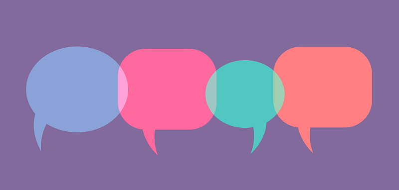 Colorful speech bubbles on a purple background