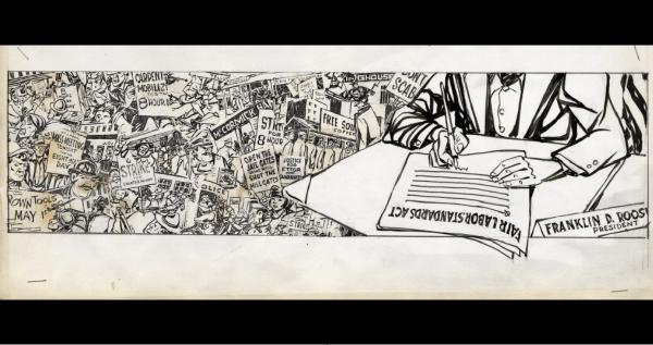 President Franklin D. Roosevelt signing the Fair Labor Standards Act. Source: Fred Wright Cartoons, University of Pittsburgh. https://digital.library.pitt.edu/islandora/object/pitt%3Aue13.1.1914b