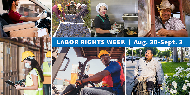 """Collage showing immigrant workers in different occupations with the text """"Labor Rights Week, August 30 to September 3. dol.gov/LaborRightsWeek"""""""