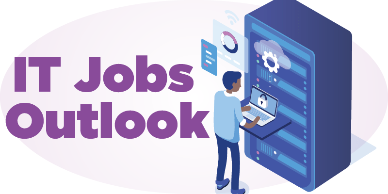 """Illustrated image of a man working on a server, with the text """"IT Jobs Outlook"""""""