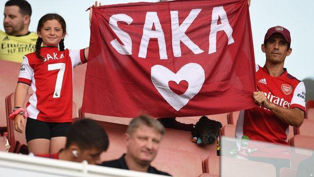 Fans show support for Bukayo Saka