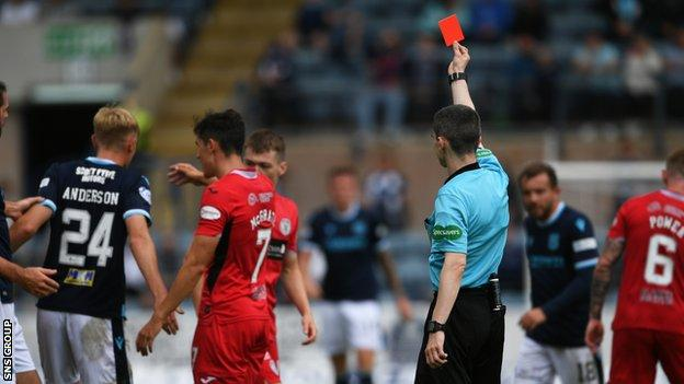 Max Anderson was sent off for Dundee with 21 minutes remaining