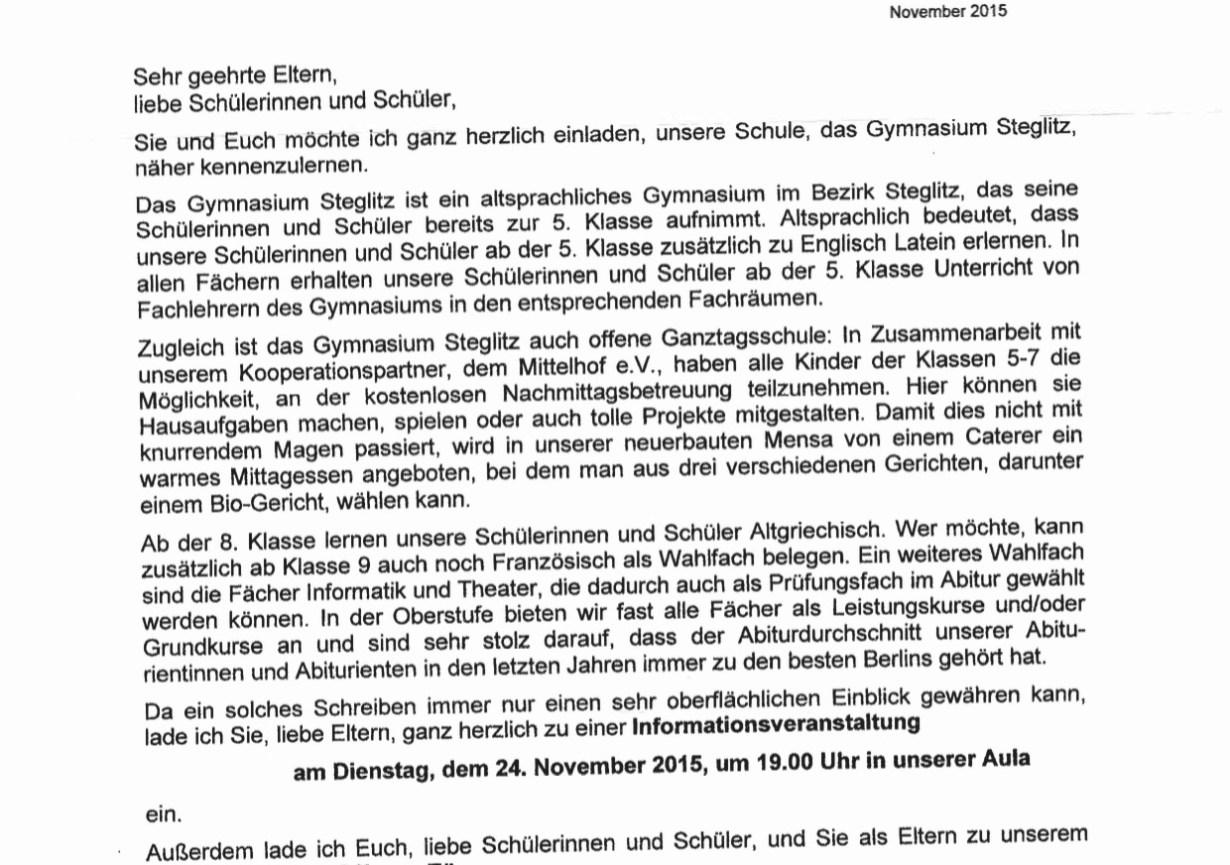 Informationsveranstaltung Gymnasium Steglitz am 24.11.15