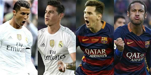 Cristiano, James, Messi y Neymar.
