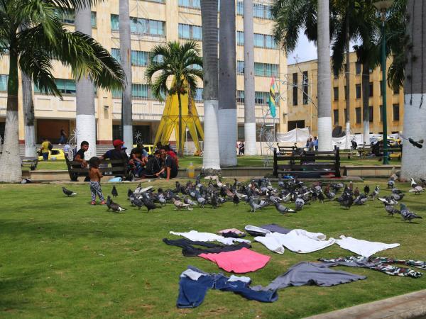Venezolanos durmiendo en Bucaramanga