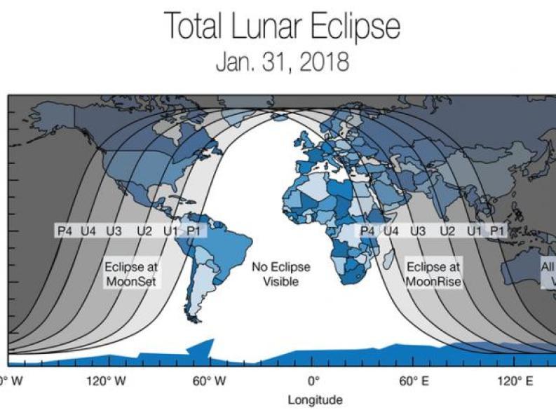 BBC Mundo: Mapa de la Tierra mostrando donde podrá verse el eclipse lunar del 31 de enero de 2018. (Imagen: NASA)