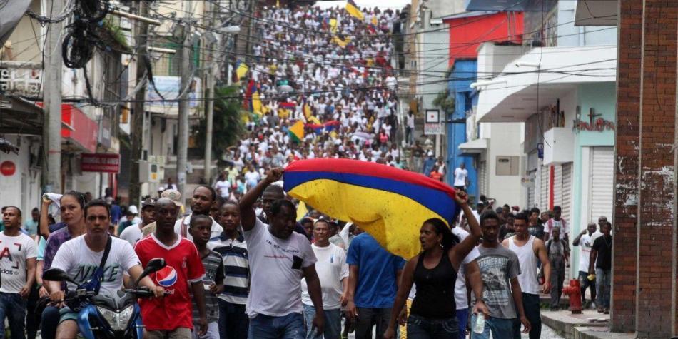 Marcha en Buenaventura durante paro cívico