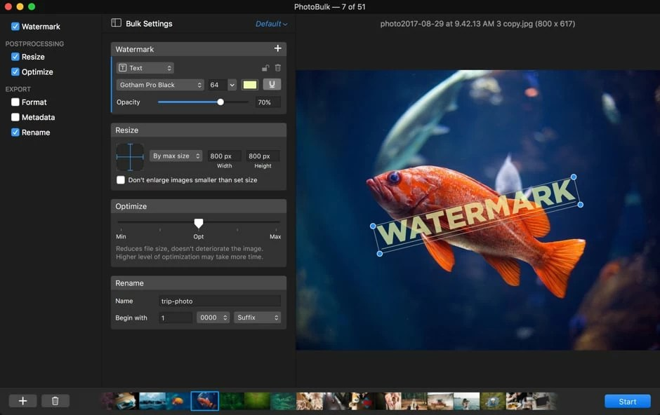 PhotoBulk Mac 破解版 图片批量水印工具
