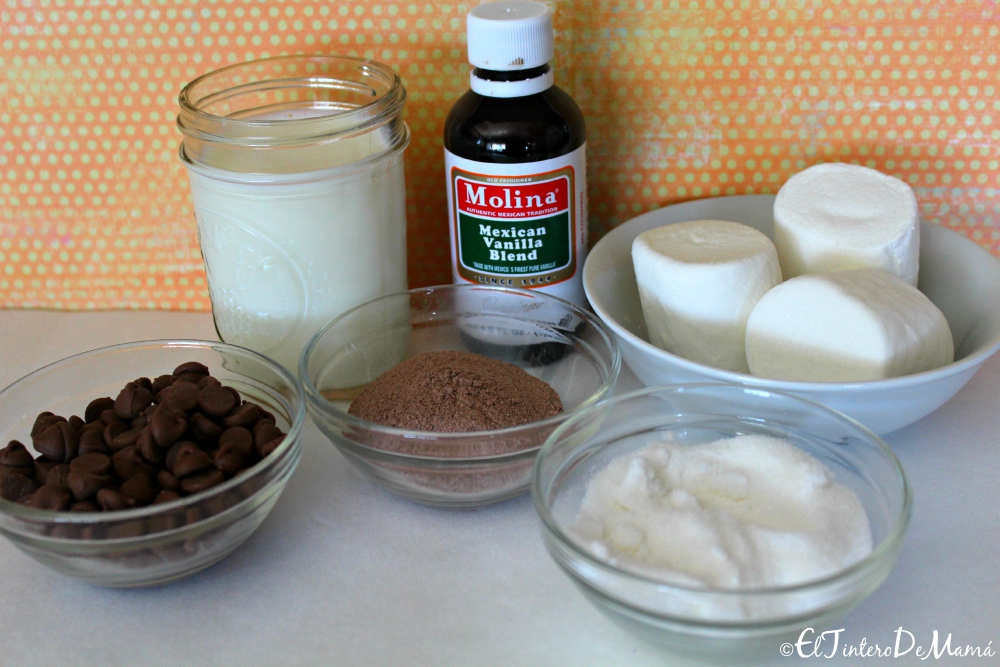 Ingredientes para preparar el MONSTER HOT CHOCOLATE.