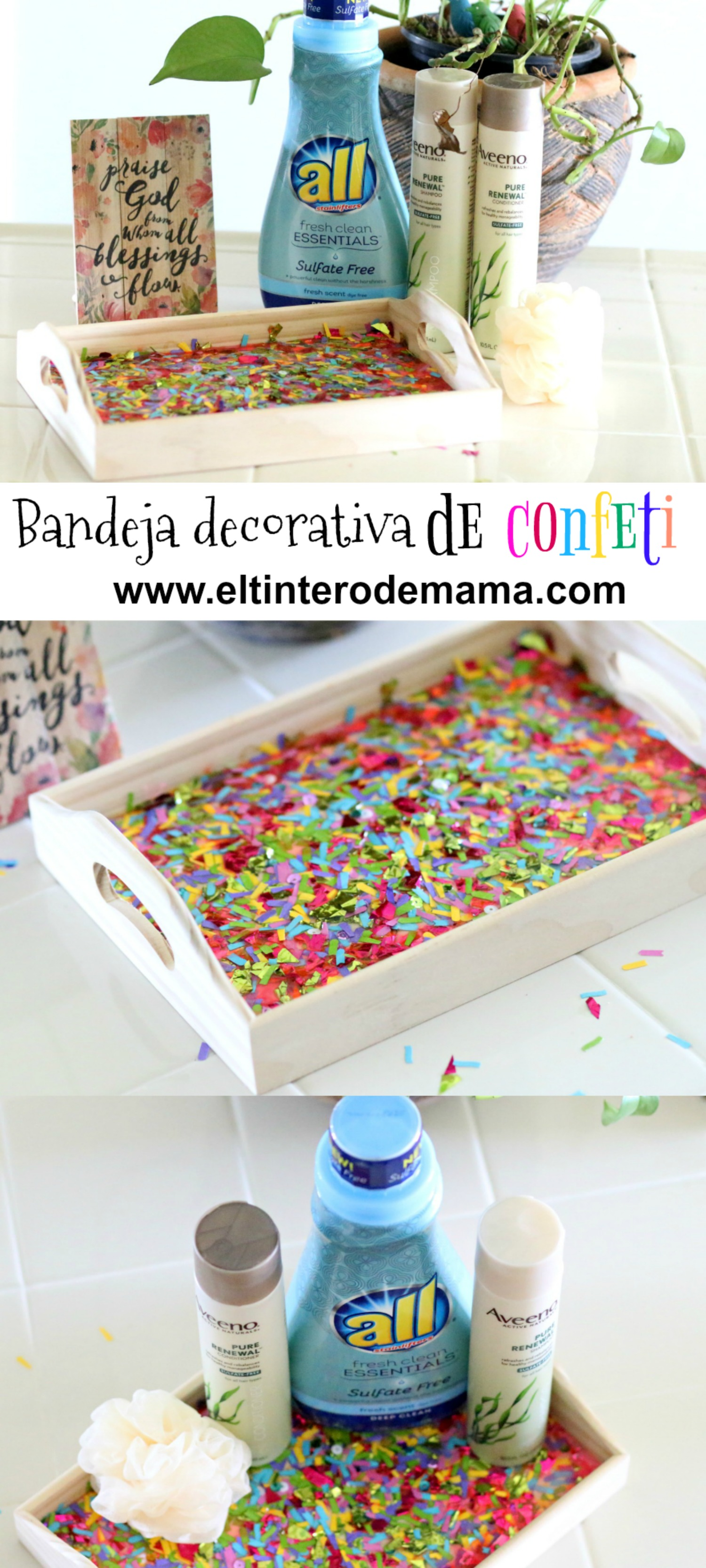 all and AVEENO tutorial confetti tray diy