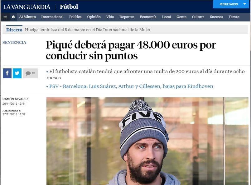 El juez condena a Gerard Piqué a una multa de 48.000 euros por conducir sin puntos