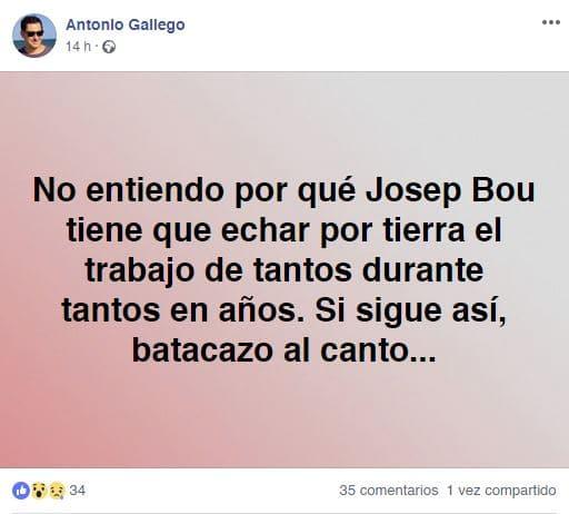 Josep Bou. Reacciones de Antonio Gallego