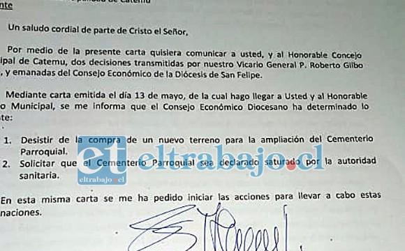 TIRAN LA TOALLA.- Esta es la carta que el Obispado envía al municipio catemino, en la que solicita su clausura y asegura que no comprará terrenos para atender la demanda de servicios.