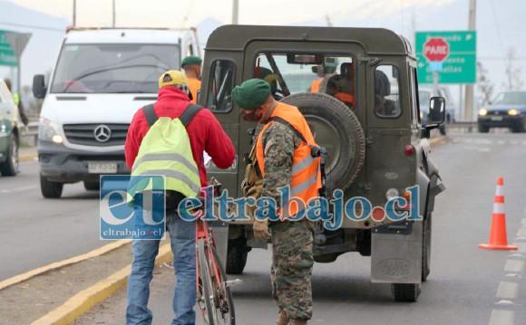 A los cuatro puntos de control (Puente El Rey, Puente 21 de Mayo, Chercán Tapia con Tocornal y Rotonda Almendral), este lunes se incorporó un quinto ubicado en el ingreso al Puente Monasterio (sector semáforos).
