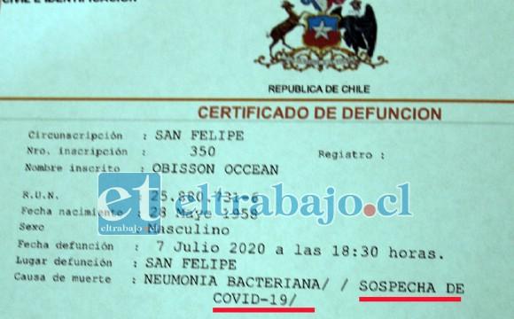 A CUIDARSE TODOS.- Este documento certifica que la sospecha de Covid sería la muerte del caribeño.