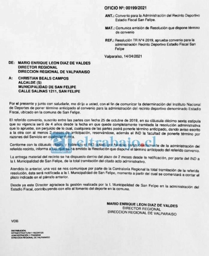 Este es el documento donde se comunica a la municipalidad el término del convenio.