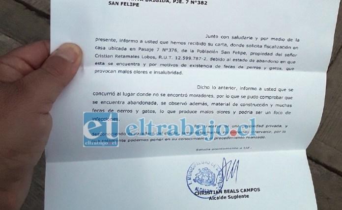 Esta es la carta donde la municipalidad de San Felipe le envía la respuesta a su petición de ayuda.