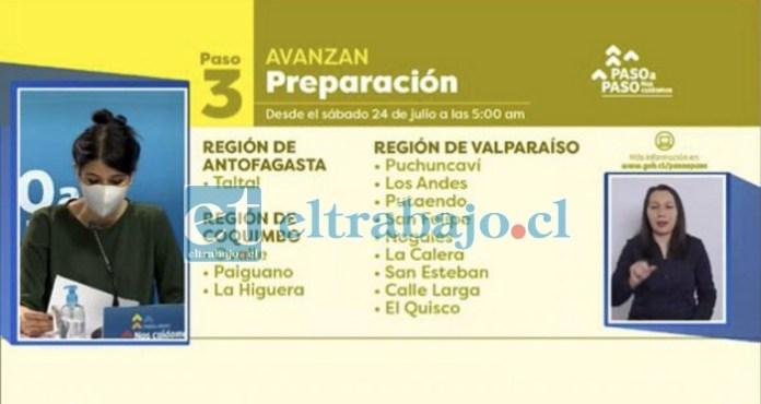 La subsecretaria Katherine Martorel anunciando que cinco comunas del Valle de Aconcagua, entre ellas San Felipe, pasan a fase 3 de preparación.