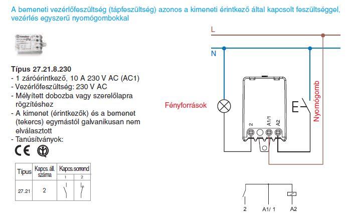 Vezérlés egyszerű nyomógombokkal - Finder 27.21.8.230 léptető-relé, 1 záróérintkező - A bemeneti vezérlőfeszültség (tápfeszültség) azonos a kimeneti érintkezők által kapcsolt feszültséggel
