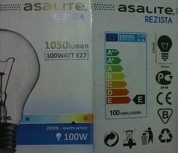Hagyományos 230 V/100 W-os izzó adatai és energiaosztálya