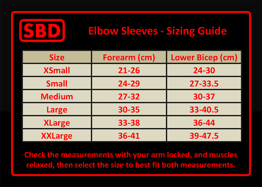Elbow Sleeve Size Chart
