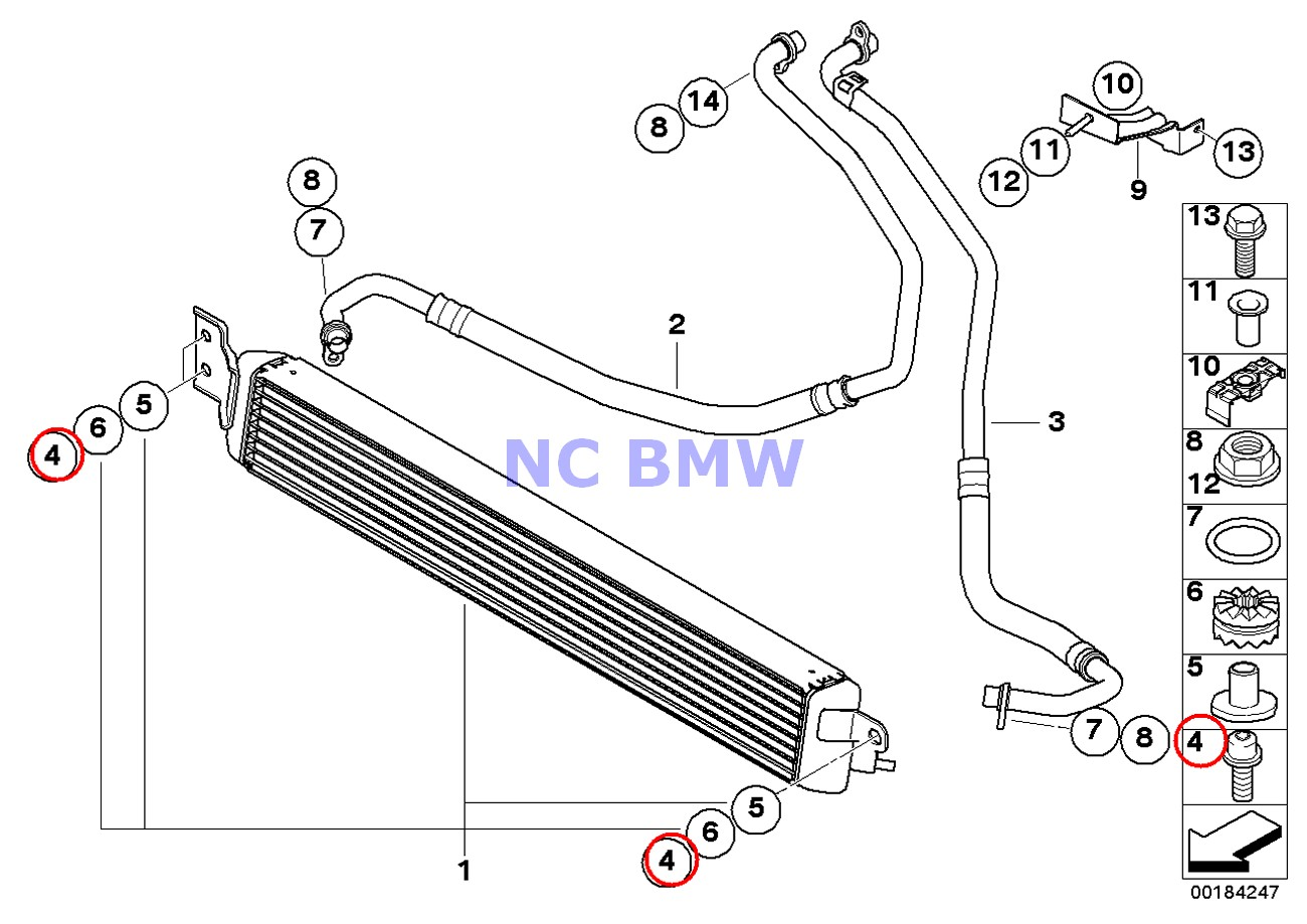 2 X Bmw Genuine Oil Cooler Isa Screw With Washer M8x40