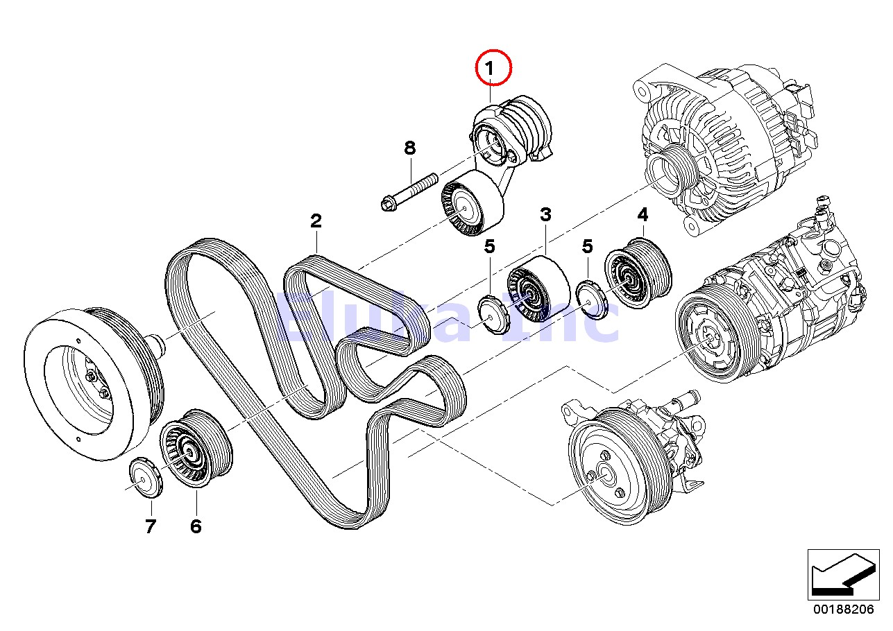 Bmw Genuine Drive Belt Tensioner With Pulley