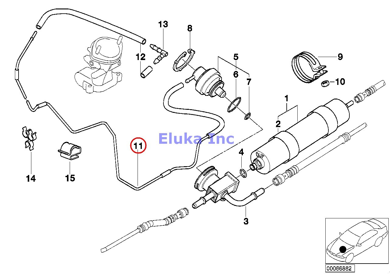 Bmw Genuine Fuel Filter Pressure Regulator Vacuum Pipe E38 E39 E52 E53