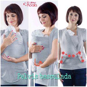camiseta de porteo quokkababy y posición del bebé