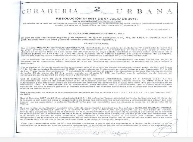Licencia protocolizada en la escritura realizada