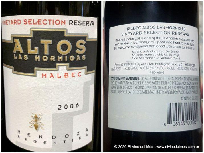 Altos las Hormigas Malbec Reserva 2006