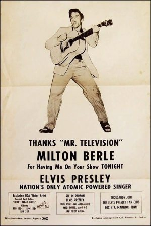 Always Divided: poster from June 1956 naming Elvis the Nation's Only Atomic Powered Singer.