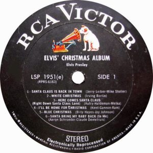 Electronically Reprocessed Stereo: label for original stereo ELVIS' CHRISTMAS ALBUM record.