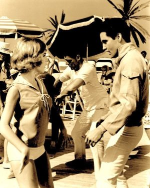 Final Four: photo of Elvis and Shelly Fabares in a scene from the movie GIRL HAPPY (1964).