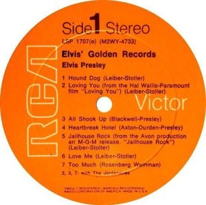 Electronically Reprocessed Stereo: orange label reissue of stereo ELVIS' GOLDEN RECORDS album.