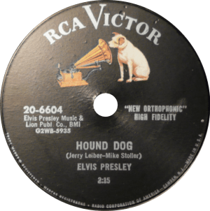 Fifty Generations Of Elvis Fans: photo of 78 rpm single of HOUND DOG.