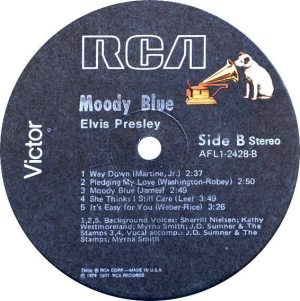 Final Album: label for AFL1-2428, the original MOODY BLUE album.