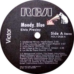 Final Album: label for AQL1-2428, the later MOODY BLUE album.