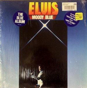 Final Album: front cover of the MOODY BLUE album with two stickers affixed to shrinkwrap.