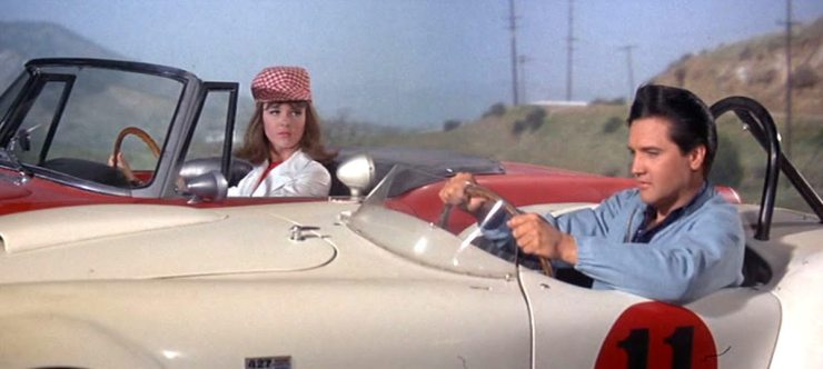 Final Four: photo of Elvis and Shelly Fabares in a scene from the movie SPINOUT (1966).