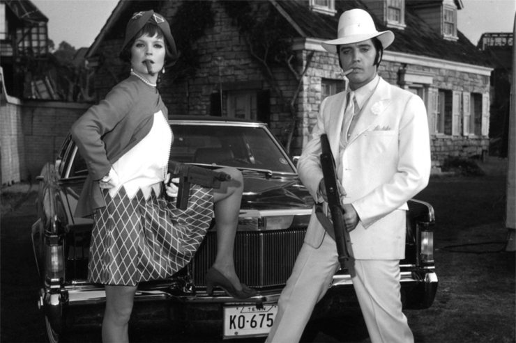 Final Four: photo of Elvis and Marilyn Mason posing as Bonnie & Clyde on the set of the movie THE TROUBLE WITH GIRLS (1968).