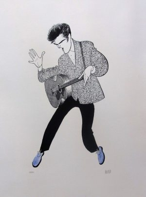 "Hirschfeld and Elvis: Hirschfeld's limited edition print of Elvis in 1956 titled ""Blue Suede Shoes."""