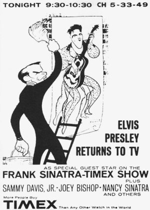 Golden Caricatures Volume 5: caricature of Elvis and Sinatra by Hirschfeld.