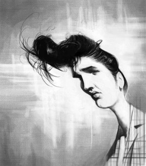Golden Caricatures Volume 4: caricature of Elvis by unknown artist.