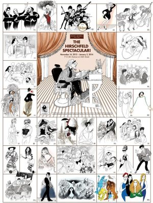 Hirschfeld and Elvis: poster for a Hirschfeld retrospective with 29 images including Elvis.