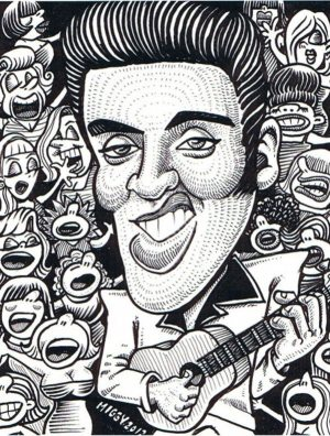 Golden Caricatures Volume 2: caricature of Elvis by Miguel A.