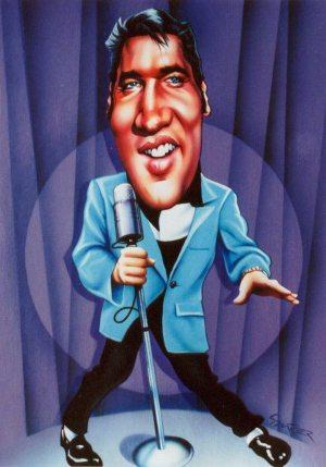 Golden Caricatures Volume 2: caricature of Elvis by Johannes Saurer.